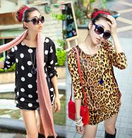 2014 New Fashion Women Casual Dresses Autumn Winter Plus Size XXL XXXL 4XL Dresses Long Sleeve Wool Cotton Tops Tees Pullovers