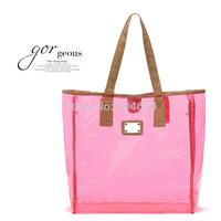 FREE SHIPPING Prim neon powder PVC transparent shopping bags beach bag