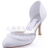MZ716 wholesale free shipping 2014 white round toe lace diamond wedding dress women's bridal shoes