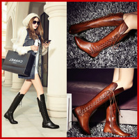 Free shipping] 2014 New arrival fashion female genuine leather cowhide round toe flat heel high-leg snow boots big size women's