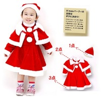 Carme children's clothing gril child christmas skirt mantissas hat triangle set baby sets Shawl+dress+cap three pieces sets