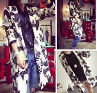 2014 autumn elegant design decorative pattern long design suit jacket female