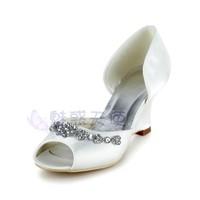 MZ651 wholesale free shipping New arrival beaded rhinestone crystal open toe wedges high-heeled women bridal wedding shoes