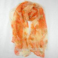 Wholesale 100% pure silk  Scarf , Free Shipping! 105cm*185cm  real silk scarves orange