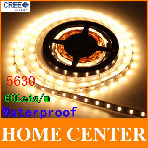 Waterproof 5M 5630 300Leds LED Strip Light Warm White Super bright 60Leds/m DC12V(China (Mainland))