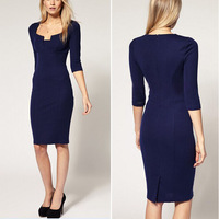 2014 Woman Summer Cotton Dress Lady Knee-length Sheath dresses Bodycon 2 Colors S,M,L, XL,XXL Fashion and Sexy D94 New arrival