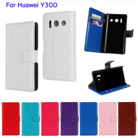 5Pcs Lot Crazy Horse Wallet Style Flip PU Leather Card Holder Case Cover  For Huawei Ascend Y300  Touch Pen As Gift
