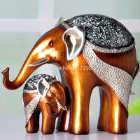 2pcs/set Lmitation Resin Elephant Animal Art Resin Statues Figurines Home Embellishment Western Decor Environment Promotion Gift