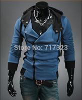 Free shipping 2014 autumn men's casual fashion zipper fleeces, ebay hot selling Men's Coat Oblique placket Hoodies, M-XXXXL