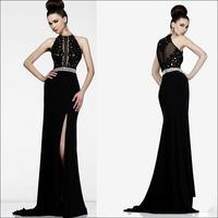 New Arrival Luxury Crystal Mermaid Prom evening dress 2014 vestido de festa Black dress party evening elegant long 2014 crystal