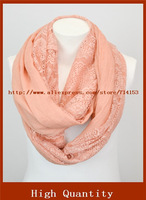 NWT Two Sided Infinity Loop Romantic Cotton Lace Scarf Pink