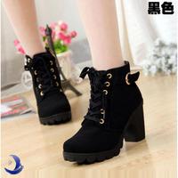 new 2014 brand platform high heel single shoes vintage Women Motorcycle Boots Martin Boots,EU size 35-39 T25