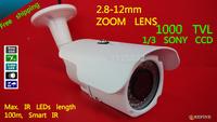 Free shipping 2014 NEW CCTV camera 1/3 Sony CCD Effio-e CCD Full HD 1000TVL 960H OSD menu IR 100M outdoor 2.8-12mm zoom lens