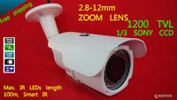 Free shipping 2014 NEW CCTV camera 1/3 Sony CCD Effio-e CCD Full HD 1200TVL 960H OSD menu IR 100M outdoor 2.8-12mm zoom lens