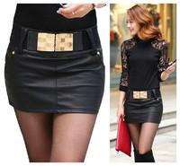 new fashion spring autumn 2014 black faux leather plus size casual short pencil skirt women skirts shorts female