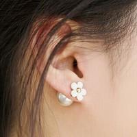 Min.order is $10(mix order)Free Shipping Korean models ladies Jewelry earrings five leaves  flowers pearl Stud Earrings (OE0021)