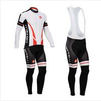 Winter ! 2014 Castelli Cycling Jersey/bike Clothes/long sleeve Thermal fleece ropa ciclismo (BIB) Pants RI15 Free Shipping