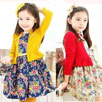 2014 new auturn Korean baby girl's dress Lovely false two-piece children's net yarn stitching broken girls clothes flower dress