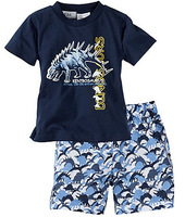 cotton children's sets kids Boy cartoon Dinosaur t shirts with shorts summer new hot selling good quality uhba101