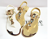 2 colors new Summer flats 2014 fashion women sandals diamond ladies women shoes 2014 US 5 -11 hot sale Free shipping