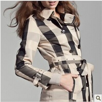 Hot New 2014 Women Fashion British Autumn Long Trench Coat/Designer Big Plaid Black Line Belted Slim Fit Trench F260A180 S-XXL