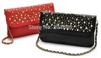 FREE SHIPPING rivet punk PU handbag chain one shoulder hand bags famous brand for women