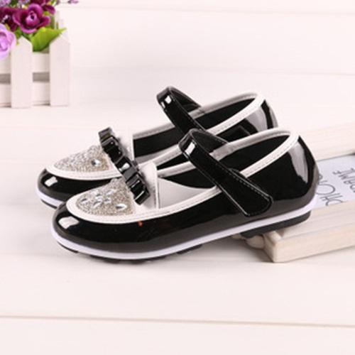 venda quente nova 2014 moda outono crianças sapatos da princesa edição coreana lantejoulas diamante bonito bowknot sapatos garota mais velha escola(China (Mainland))