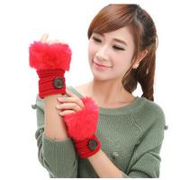 Women warm imitation rabbit hair button half refers to warm the knitting gloves  winter mittens women  velvet Mittens