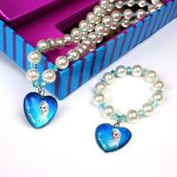 2014 Party favors! Frozen Elsa Anna  White/Purple / Pink Heart Pendant  necklace and bracelet Children Kids jewelry set  S006