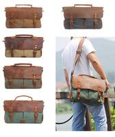 Vintage Canvas Messenger Shoulder Laptop Briefcase Bag School Satchel CB0002