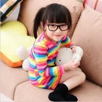 Top On Top 5 pcs/lot 2013 HOT Selling Children Kids Clothing Girls Rainbow Dresses Autumn Spring Wear