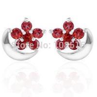 Derongems_Fine Jewelry_Elegant Natural Garnet Flower Earrings_S925 Solid Sliver plated 18KPG Gold_DREG007_Factory Directly Sale