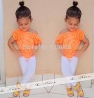 Free Shipping 2014 new fashion suits baby clothing sets shirt + legging pants casual short-sleeved shirt 2 / set