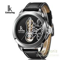 IK Colouring Luxury Mechanical Tourbillion Watch Auto Genuine Learther Men's Watches Wristwatch Free Ship