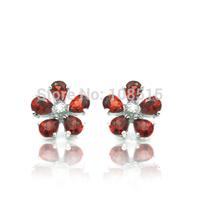 Derongems_Fine Jewelry_Elegant Natural Garnet Flower Earrings_S925 Solid Sliver plated 18KPG Gold_DREG028_Factory Directly Sale