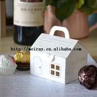 200pcs/lot pearl paper white wedding souvenirs for guests, laser cut house cupcake boxes , cake decoration
