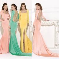 Beading Luxury Crystal Mermaid Prom evening dress 2014 Backless vestido de festa Green long dress party evening elegant mermaid