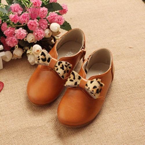 Hot new primavera outono crianças sapatos da moda leopard grain bowknot zipper sapatos baixos escola mais velho menina sapatos(China (Mainland))