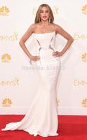 Fashion White Mermiad evening dresses strapless 2014 Emmy Award best celebrity dresses beading Prom dress vestidos de fiesta WC9
