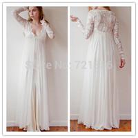 AW-5 2014 A-line V-neck Lace Long Sleeve Lace See Thorugh Chiffon Floor Length Beach Wedding Dress