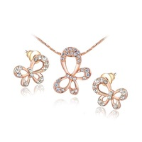 Wholesale Free shipping fashion jewelrys Gift Brand Austria crystal rose gold butterfly Jewelry sets Earrings+Necklace women