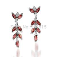 Derongems_Fine Jewelry_Elegant Natural Garnet Flower Earrings_S925 Solid Sliver plated 18KPG Gold_DREG010_Factory Directly Sale