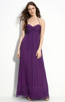 2014 elegant cheap a line chiffon long halter bridesmaid dresses wedding party dress gown vestido de madrinha