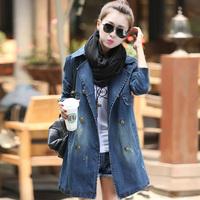 Autumn Winter Coat Women Demin Trench Slim Waist Double Breasted Long Jeans Coat casacos feminina Plus Size M,L,XL,XXL C48526