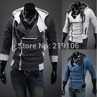 Spring new Korean men's clothing Men's Slim student classes oblique zipper cardigan sweater jacket Men