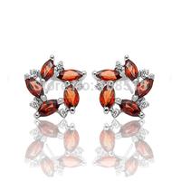 Derongems_Fine Jewelry_Elegant Natural Garnet Flower Earrings_S925 Solid Sliver plated 18KPG Gold_DREG024_Factory Directly Sale