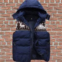 Men Casual Cotton-padded Vest Jacket Coat Autumn Winter New Fashion 2014 Sleeveless Hooded Deer Print Outerwear XXXL ZB2027(China (Mainland))