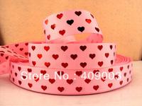 10Y7315 kerry ribbon free shipping 1'' red silver printed ribbon Grosgrain ribbon