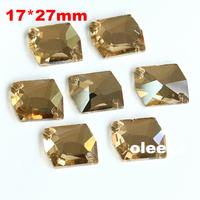 72pcs 17*27mm Cosmic Shape Flatback Sew on Rhinestones Smoked Topaz 2 holes Sewing Crystal beads Oleeya Brand