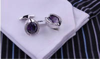 Copper  Free shipping NEW hot  Men's Crystal Cuff Links Wedding Party Vintage Cufflinks Zircon NC0076